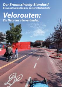 Titelblatt Broschüre: Ästhetisch gestalteter Radweg mit rotem Asphalt.
