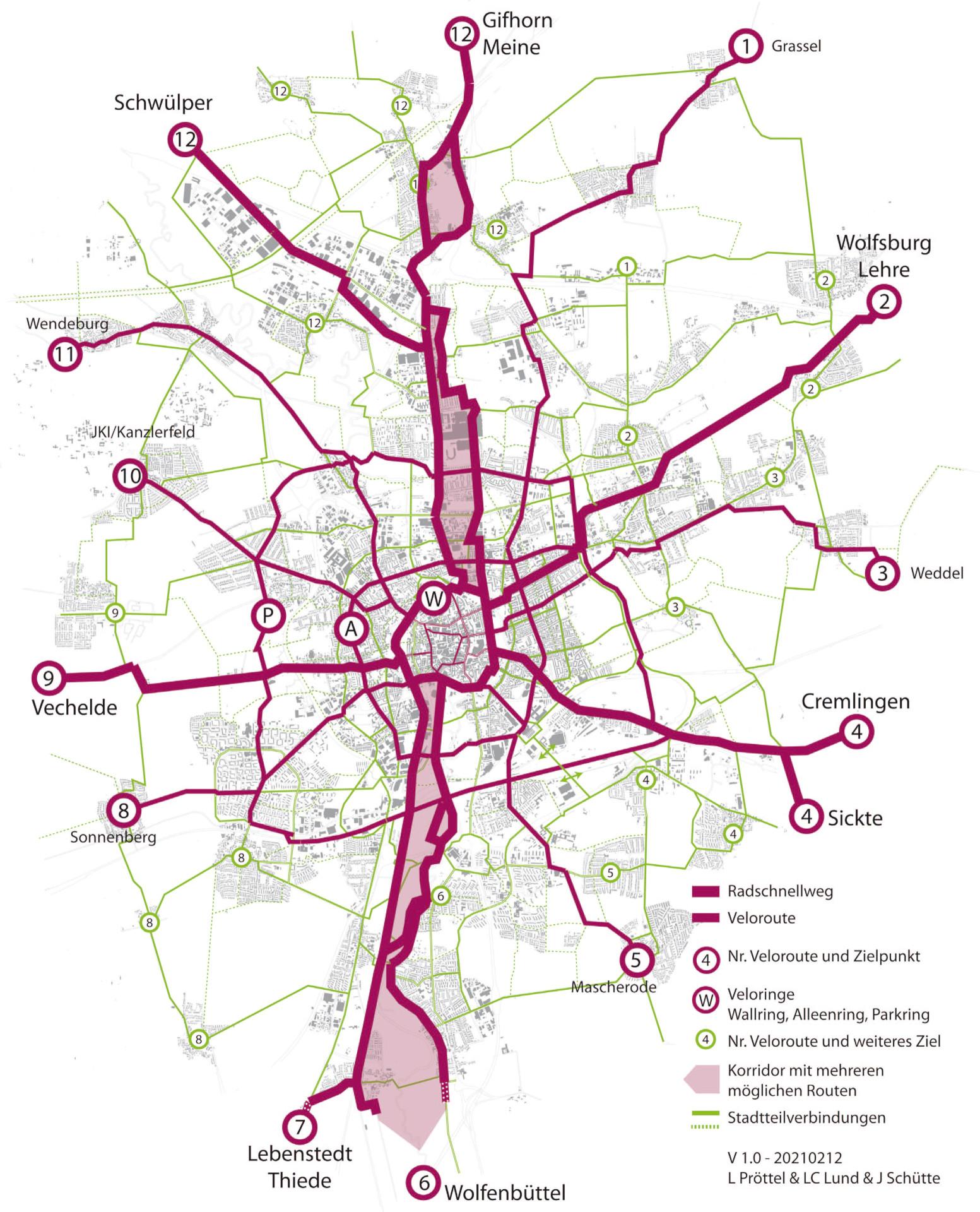 Entwurf eines Zielnetzes. 12 radiale Velorouten aus den Ortsteilen ins Stadtzentrum und 3 Veloringe, die Querverbindungen herstellen.